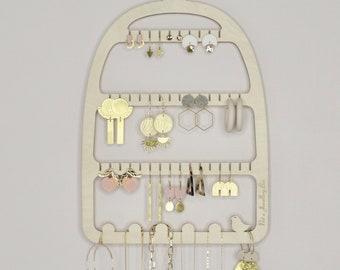Birdcage Earring Holder - Wooden jewellery Display Organiser