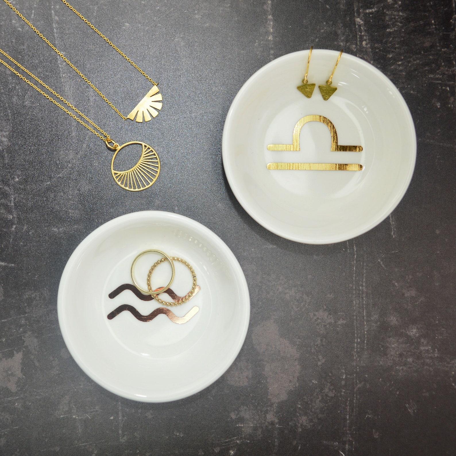 gold foil zodiac trinket dish