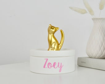 Cat Jewellery and trinket Box - Gold and White