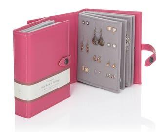 Earring Storage Book - 11 Colours - Earring Holder - Stud Earring Organiser - Gift for Her - Jewellery Travel - Personalised Gift