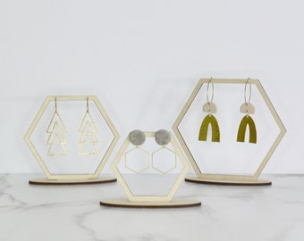 Earring Display Stand - Set of Three - Hexagons