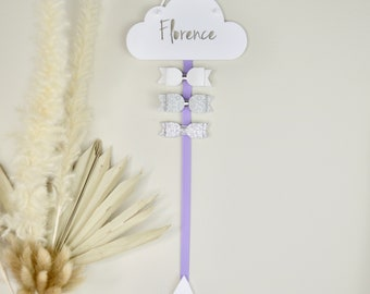 Personalised Hair Bow Hanger - White Cloud - One or Two ribbons