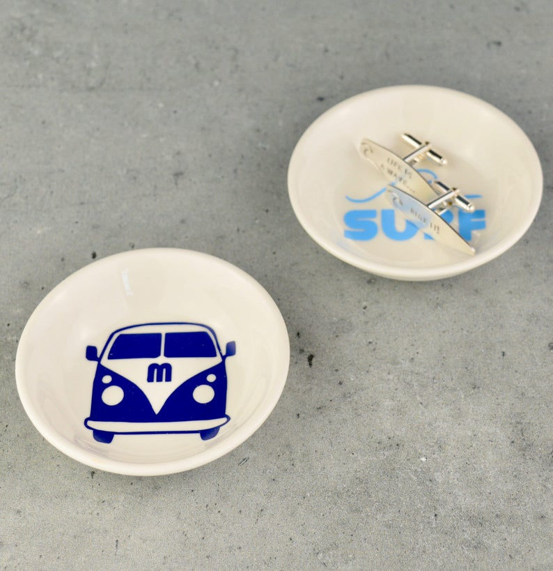 2248e6967c3df Cufflinks Dish - Mens Jewellery Box - Camper Van Gift - Surf Gift -  Cufflink Holder - Beach Lover - Mens Jewellery Dish - Dad Cufflinks -