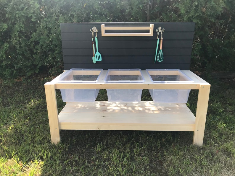 Triple Plastic Sink Mud Kitchen With Lower Shelf image 0
