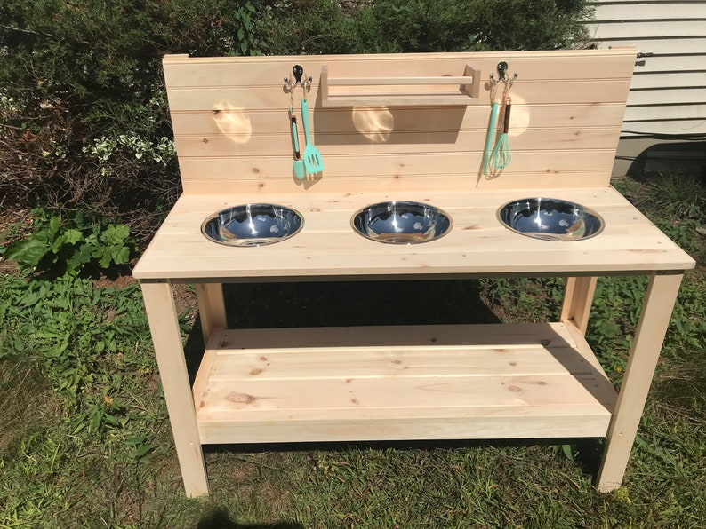 Mud Kitchen With Triple Stainless Steel Sinks image 0