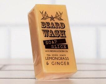 Lemongrass & Ginger Beard Wash Soap 70g Mens Facial Care Beard Hipster Moustache Male Grooming