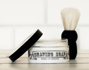 Mens Solid Shaving Soap Burds of Paradise 100g (with or without Shaving Brush) Vegan. No SLS, Parabens or Palm Oil.