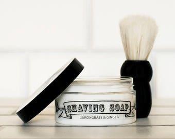 Mens Solid Shaving Soap Lemongrass & Ginger 100g (with or without Shaving Brush) Vegan. No SLS, Parabens or Palm Oil.