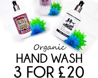 Organic Hand Wash / 3 for 20 / Special Offer / Vegan Liquid Soap / Vegan Hand Wash / SLS & Paraben Free Hand Wash / Vegan Gift