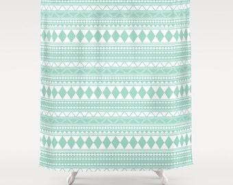 Mint Tribal Shower Curtain 70x70 70x90