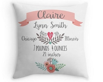 Birth Announcement Pillow - Personalized Baby Pillow - Baby Gift - Girl Nursery Decor -Pink