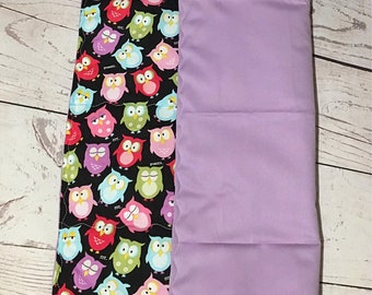 Baby Changing Pad-Owl Prints-Waterproof Fabric-Travel Change Mat-Diaper Change-Purple-Handmade Changing Pad-Baby Gift-Baby Accessories