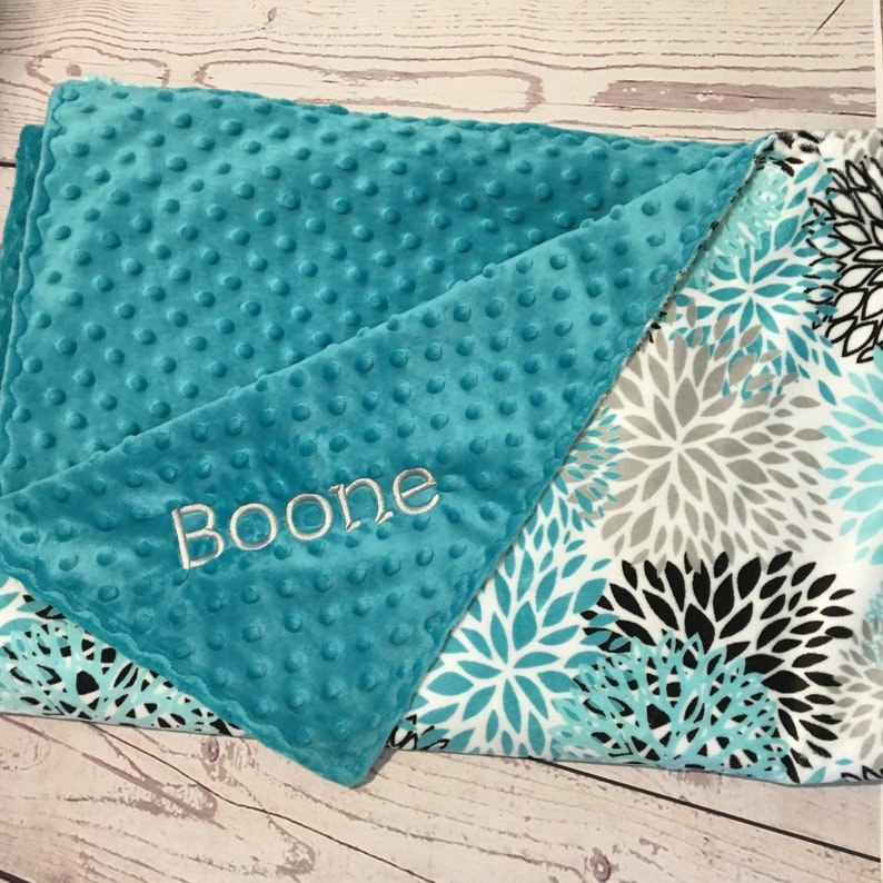 588a43b7fc48 Personalized Baby Blanket-Handmade Baby Gift-Teal Minky   Etsy