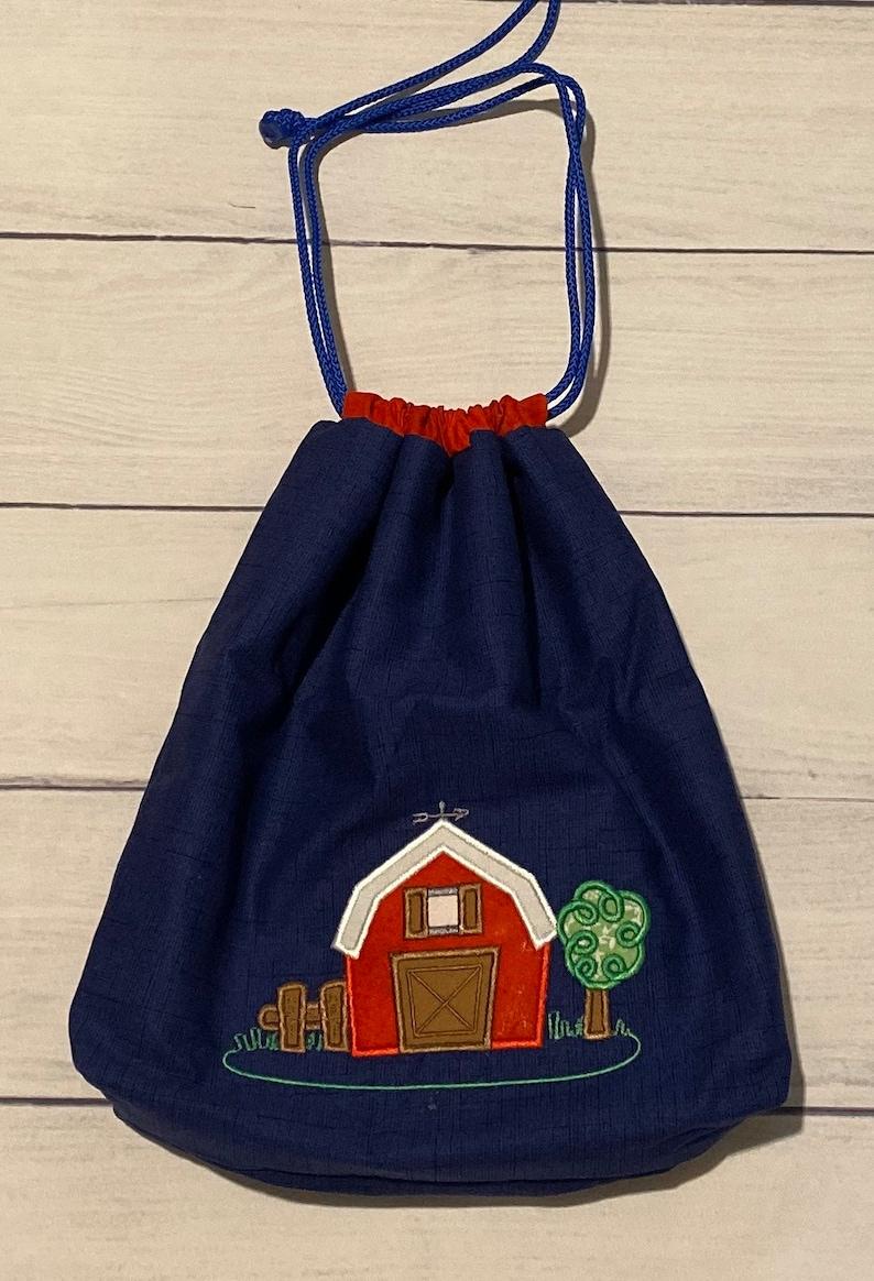 Personalized Barn Drawstring Bag-Barn Design-Handmade Bag-Eco Friendly-Kid Bag-Daycare Bag