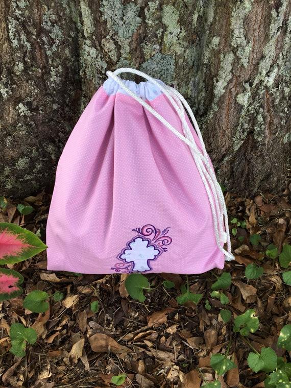 Cordon de serrage Kid sac-main sac étanche doublure-Christian sac brodé-Cinch sac-Eco amical sac-monogrammé sac-Croix de personnalisé