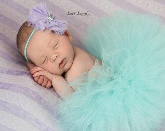 NEWBORN TUTU Set, Aqua and Lavender Tutu Set, Baby Tutu, Newborn Photography Prop, Photo Prop, Tutus for Children, Birthday Tutu