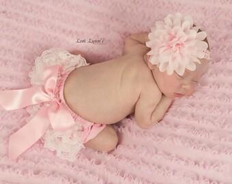 NEWBORN BLOOMER SET, Pink Ruffled Lace Diaper Cover,Lace Bloomer Set and Matching Newborn Headband,Newborn Photo Outfit, Smash Cake Outfit