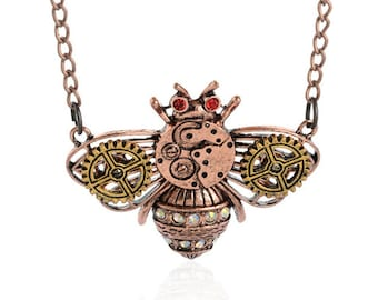 Steampunk Bee Pendant Necklace