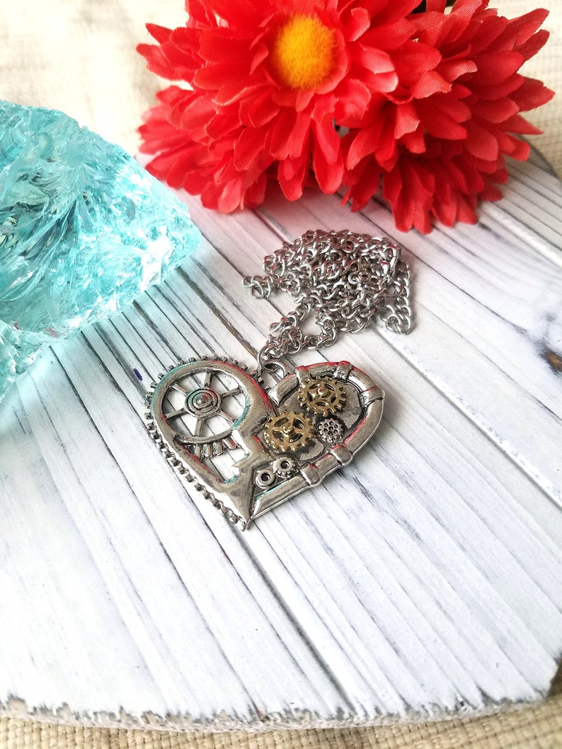Steampunk Style Heart Pendant Necklace