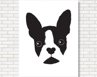 Boston Terrier Print - Digital Illustration for Dog Lovers - Modern Poster - Black & White - Home Decor - Bedroom Art - Gift