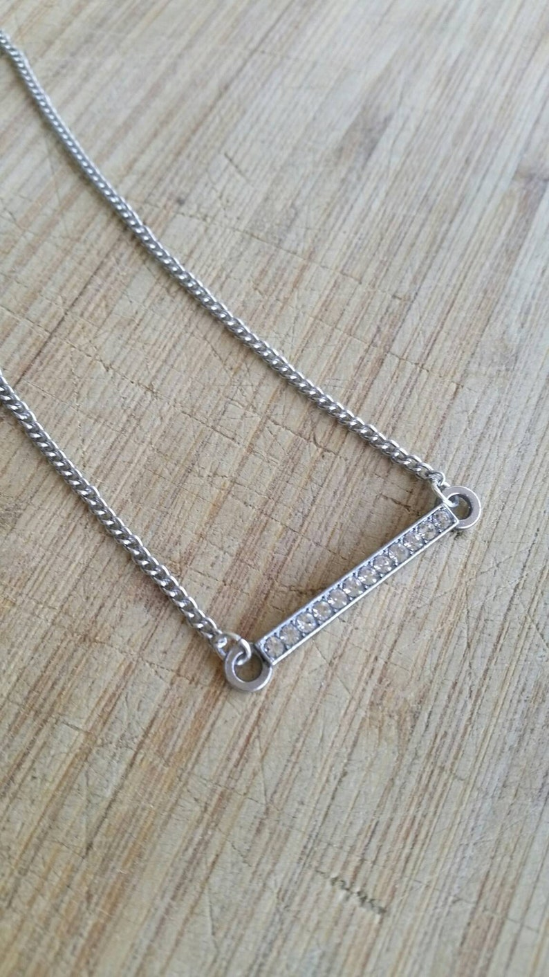 inspirational jewellery blessed bar necklace blessed necklace thin bar, silver bar necklace double sided necklace blessed and diamontes