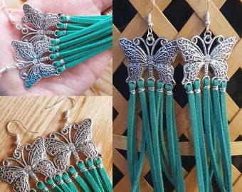 large butterfly earrings, green chandelier earrings, faux suade boho earrings, butterfly earrings, long earrings, butterfly jewellery,