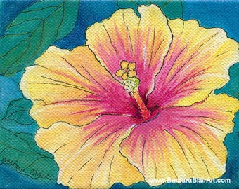"""Tropical Flower Original Painting, Hibiscus Art, Hawaiin Floral Painting, Yellow Orange Pink, """"Brilliant Hibiscus""""- 4""""x5"""" with Painted Sides"""
