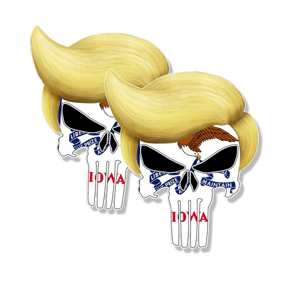 """PUNISHER STICKERS Montana State Flag Skull Decals 3/"""" tall 2-pack"""