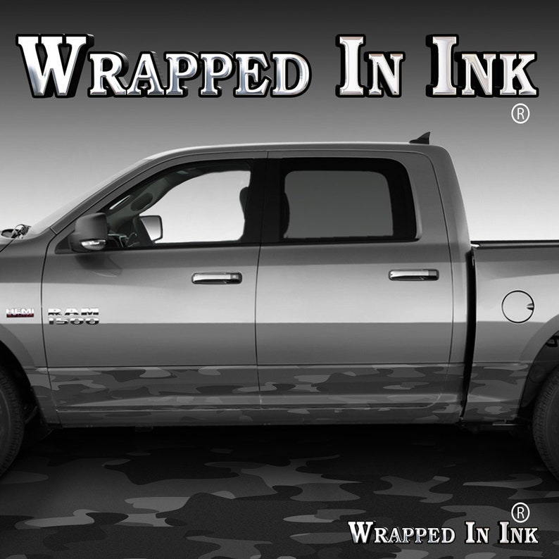Camo Black Gray Camouflage Rocker Panel Graphics Decal Wrap Kit Truck SUV  Camouflage Black Traditional Night Camouflage