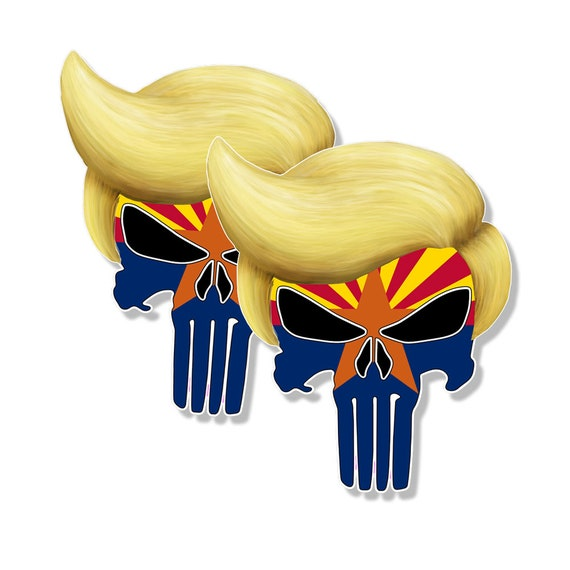 """TRUMP PUNISHER STICKERS Maryland State Flag Pro Trump Decals 4/"""" tall 2-pack"""