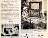 1952 RCA Victor Television Vintage Advertisement Man Cave Wall Art Game Room Decor Original Magazine Print Ad TV Art Electronics Ephemera