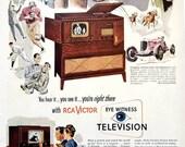 1948 RCA Victor Television TV Vintage Advertisement Turntable Art Music Room Wall Art Music Decor Original Magazine Ad Paper Ephemera