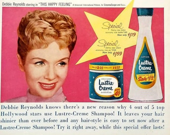 Vintage Hair care advert Reproduction poster Lux Debbie Reynolds Wall art.