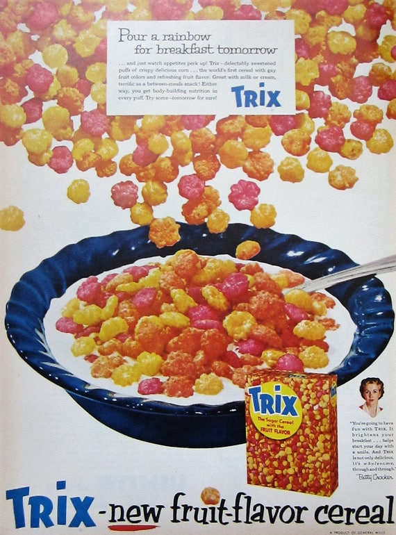 1947 trix cereal vintage advertisement kitchen wall art dining etsy