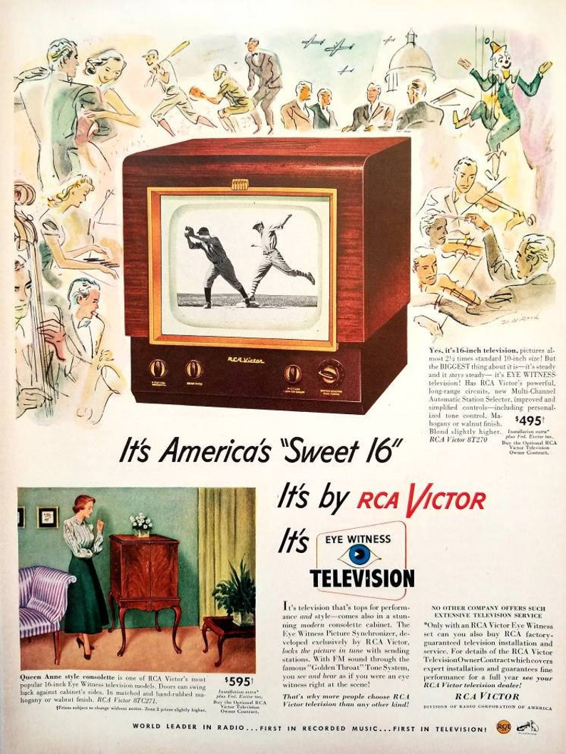 1949 RCA Victor Television Vintage Advertisement Man Cave Wall Art ...