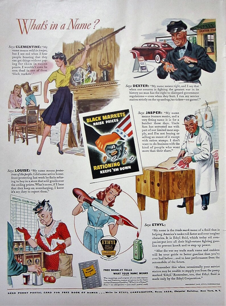 1943 Ethyl Gasoline What's In A Name Vintage Advertisement Automotive Wall  Art Man Cave Decor Original Magazine Print Ad WWII World War 2
