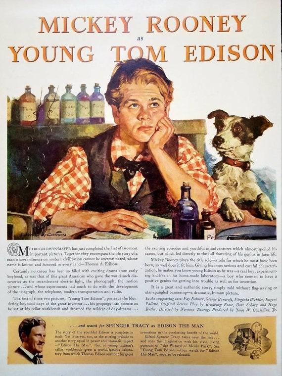 1940 Young Tom Edison Vintage Movie Print Mickey Rooney Movie | Etsy