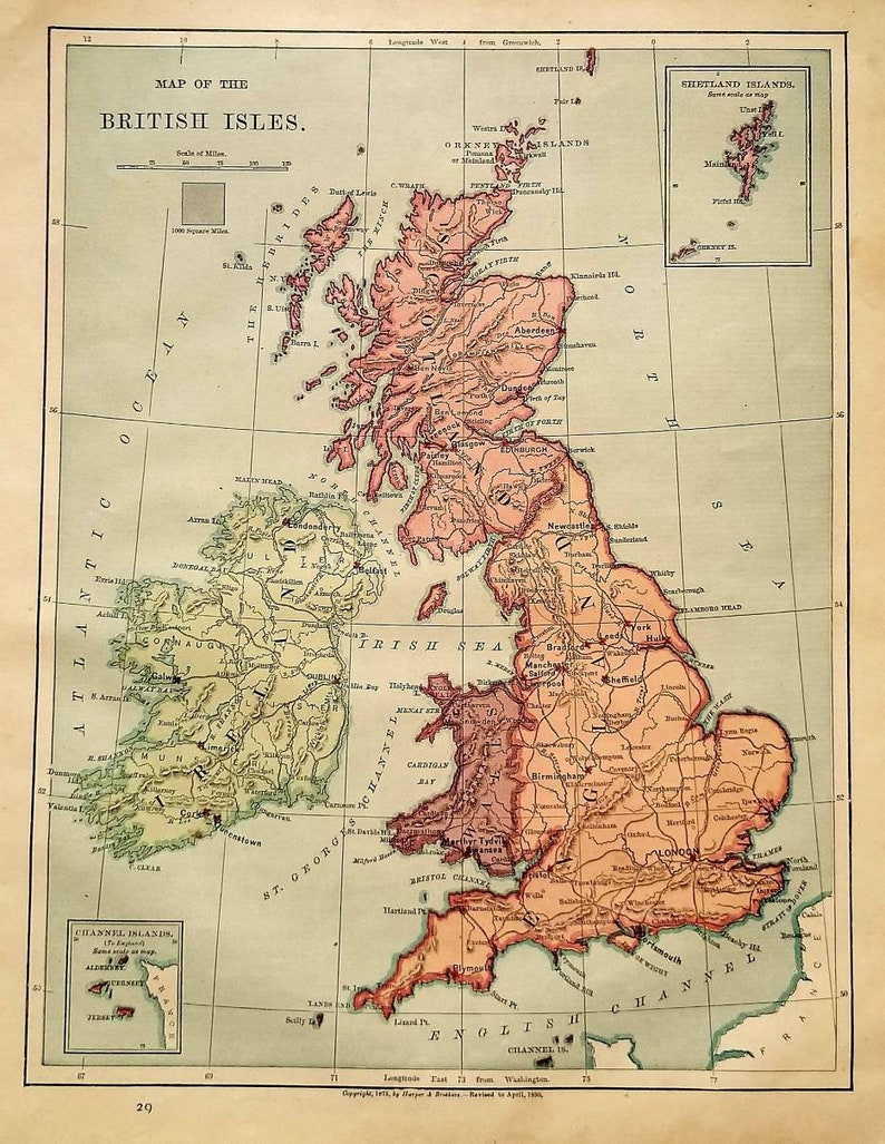 Antique 1890 Map of The British Isles / Map Wall Art / Office   Etsy