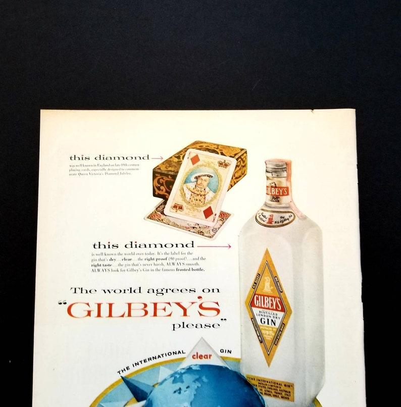 1956 Gilbeys Gin Vintage Advertisement Bar Wall Art Restaurant Man Cave Decor Original Magazine Ad Wall Print Alcohol Liquor Paper Ephemera