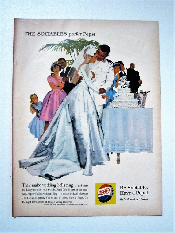Vintage Magazine advert poster reproduction. Refresh with pepsi