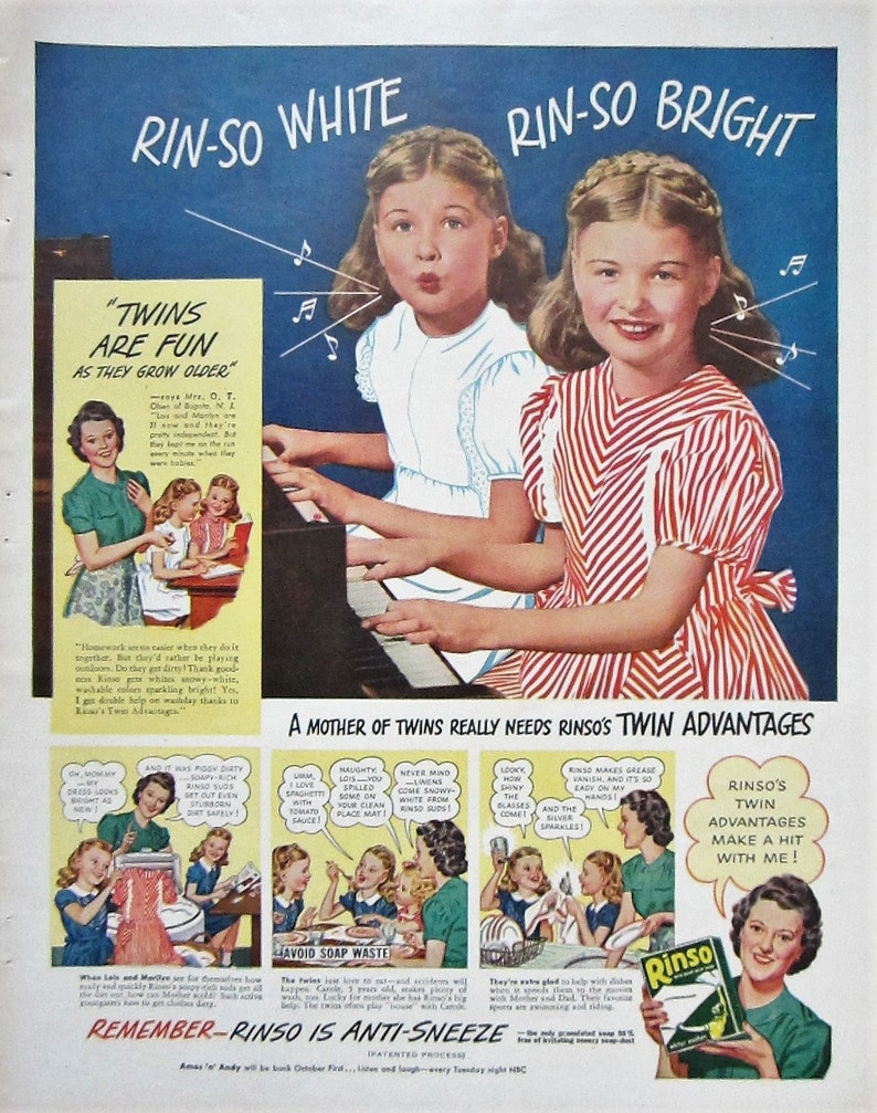 Vintage Magazine advert poster reproduction. Rinso Washing powder