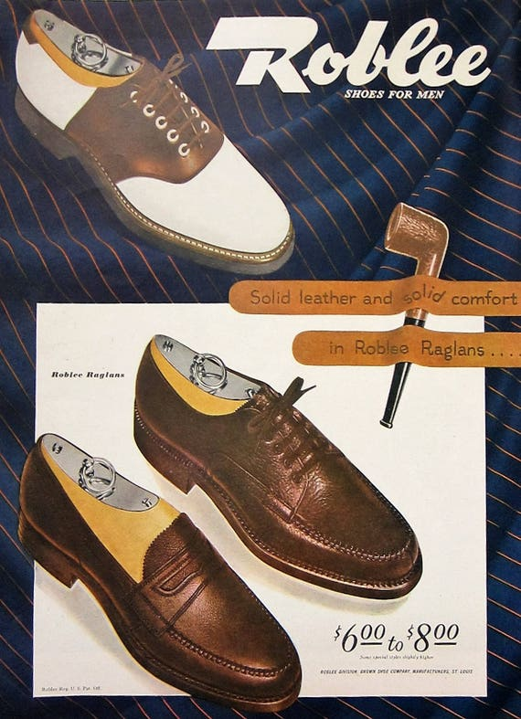 1945 roblee shoes vintage advertisement bedroom wall art - Mens bedroom wall art ...