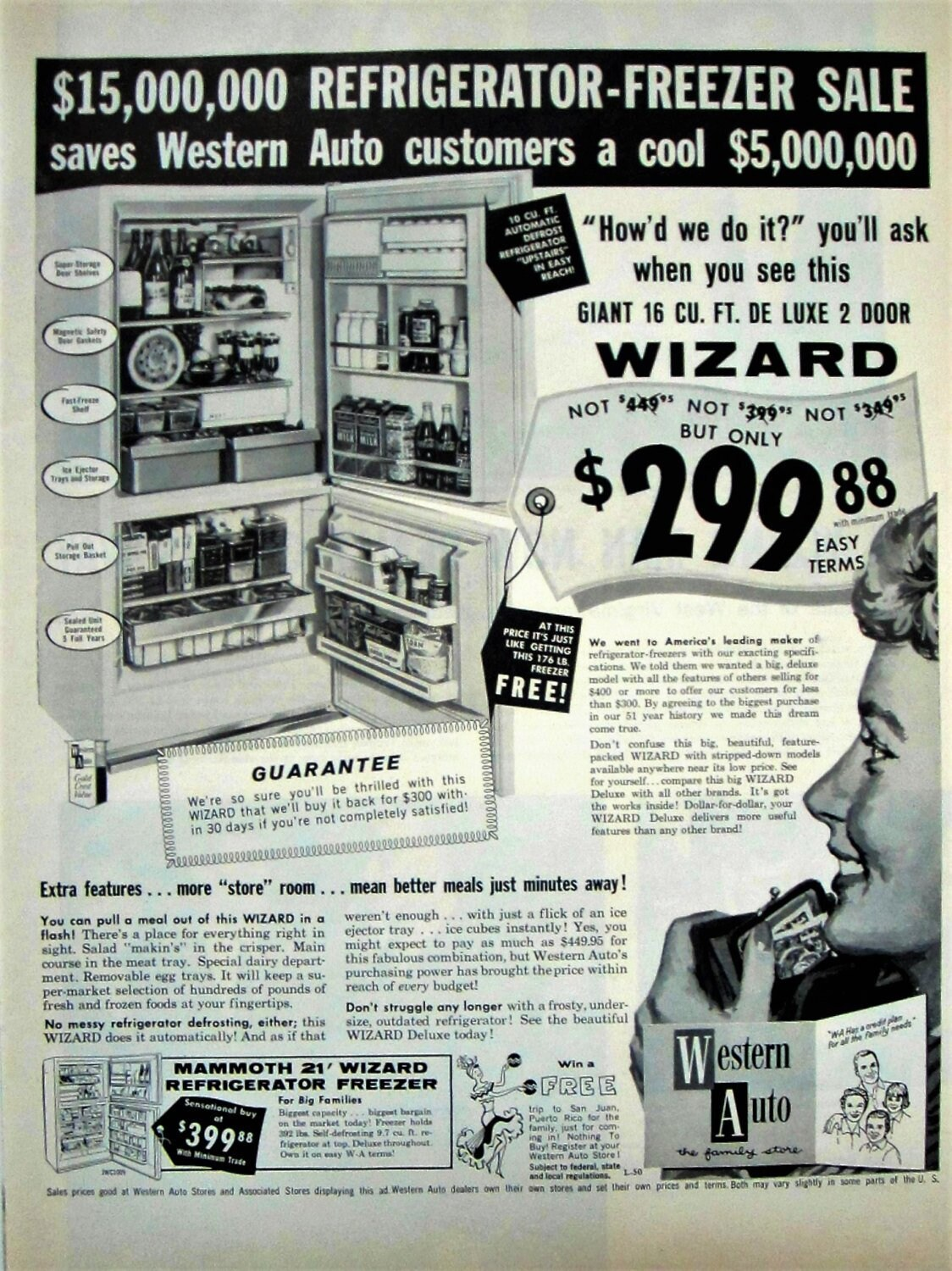 1960 Western Auto Wizard Refrigerator Vintage Advertisement Kitchen Wall  Art Appliance Decor Original Magazine Print Ad Paper Ephemera