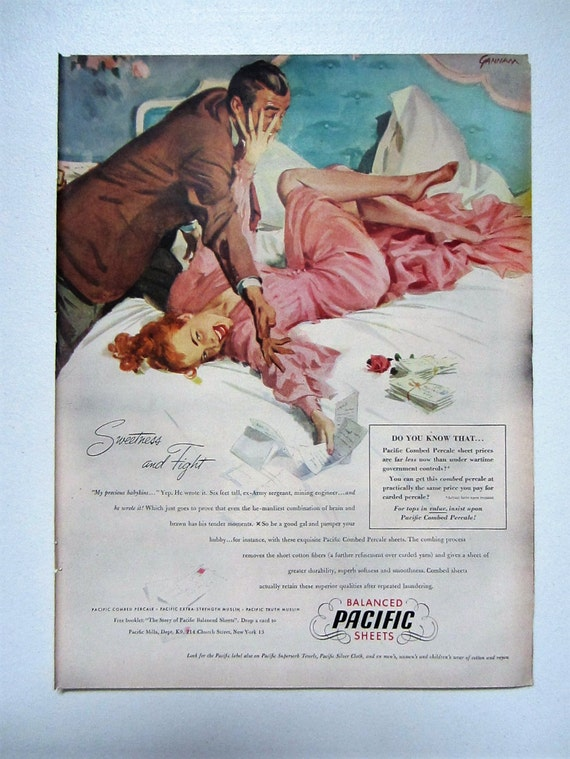 VTG 1948 Orig Magazine Ad Balanced Pacific Sheets GONE GAL Illustrated