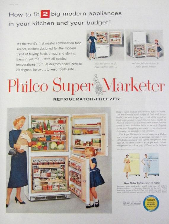 1956 Philco Refrigerator Freezer Vintage Advertisement Kitchen