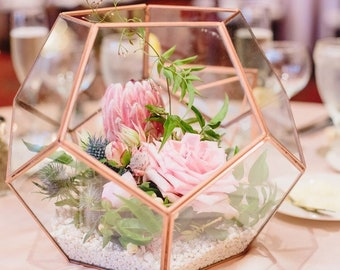 Rose Gold/Copper Glass Geometric Terrarium/ Wedding Table Decor/ Succulent Planter/Air Plants Glass Vase/Terrarium Kit/ Terrarium Gift