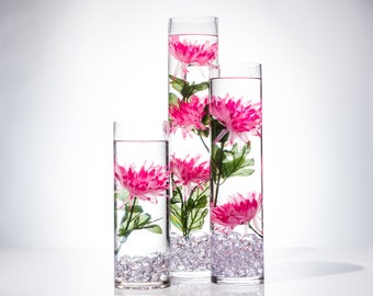 Submersible flowers etsy submersible pink fuji mums floral wedding centerpiece with floating candles and acrylic crystals kit mightylinksfo