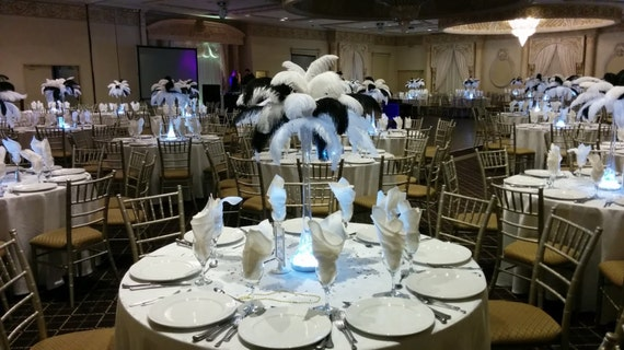 Black and white ostrich feather centerpiece for etsy