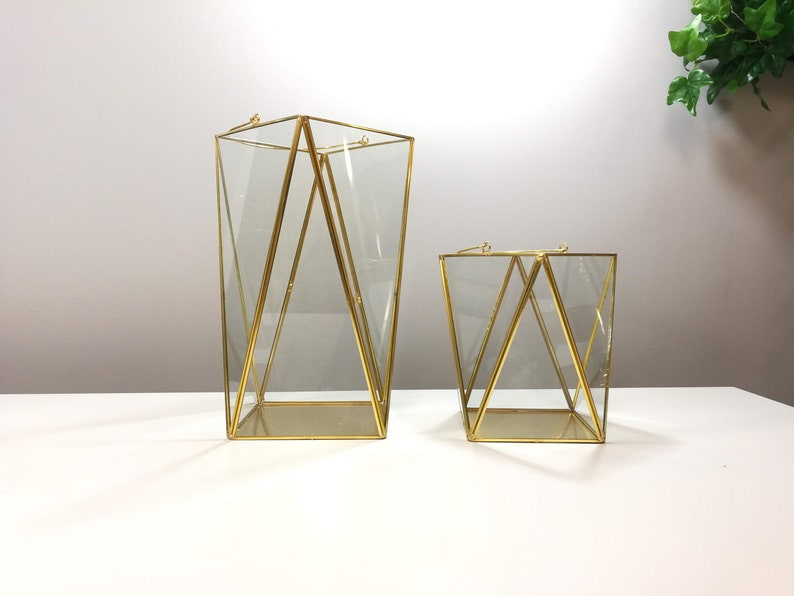 Triangle Lantern Glass Geometric Terrarium Wedding Table Etsy