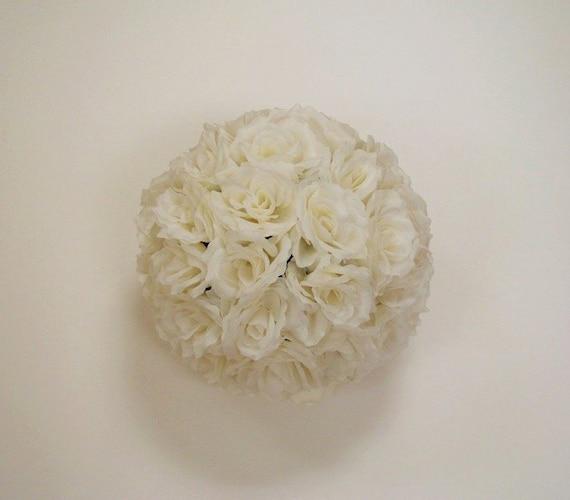 Ivory Flower Ball: Ivory Rose Flower Ball Pomander Wedding Decoration Ball